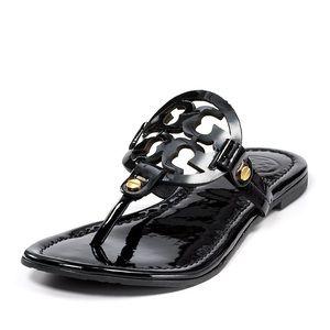 Tory Burch Black Patent Miller Thong Sandal 7.5
